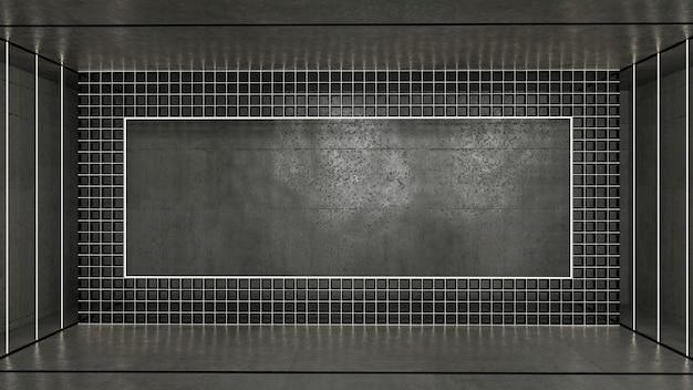 3d-рендеринг абстрактной формы прямоугольника и неонового освещения в комнате