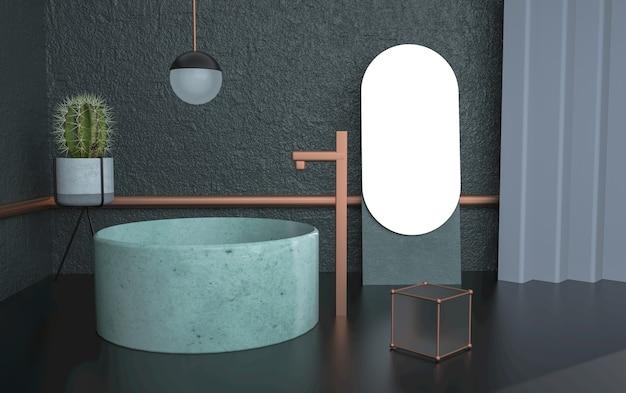 製品展示用の円形表彰台を備えた抽象的な部屋の3dレンダリング