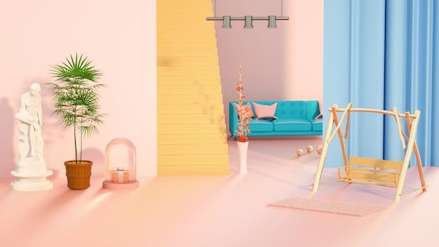 製品ディスプレイ用のソファ付きの抽象的な部屋の3dレンダリング