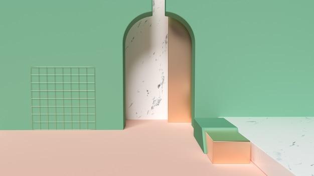 3d рендеринг абстрактных геометрических фигур сцены