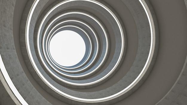 幾何学的なスタイルの抽象的なsfテーマの3dレンダリング、廊下の抽象的な照明