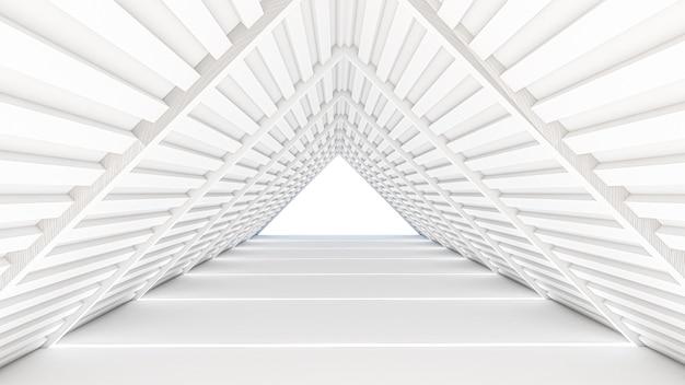 기하학적 스타일의 추상 공상 과학 테마의 3d 렌더링, 복도에서 추상 조명