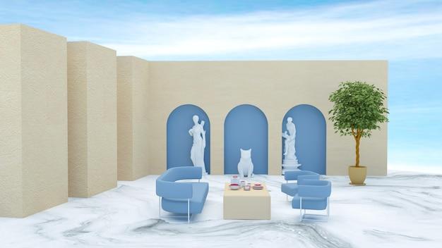 製品展示用ソファ付き抽象ステージの3dレンダリング