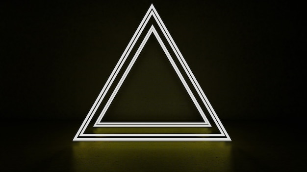 ネオンライトでの抽象的な三角形の3dレンダリング