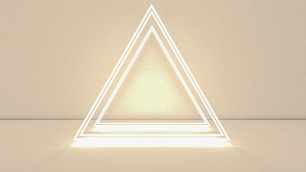 네온 불빛에 추상 삼각형의 3d 렌더링