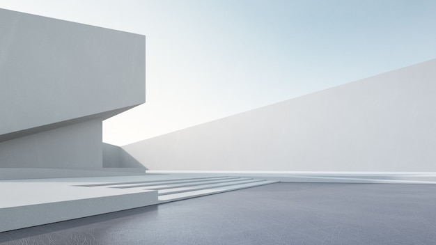 Перевод 3d абстрактного белого здания с голубым небом.