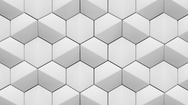 추상 흰색 육각형 배경의 3d 렌더링
