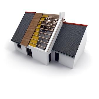 3d-рендеринг архитектурной модели со свернутыми чертежами, рукописными заметками и измерениями