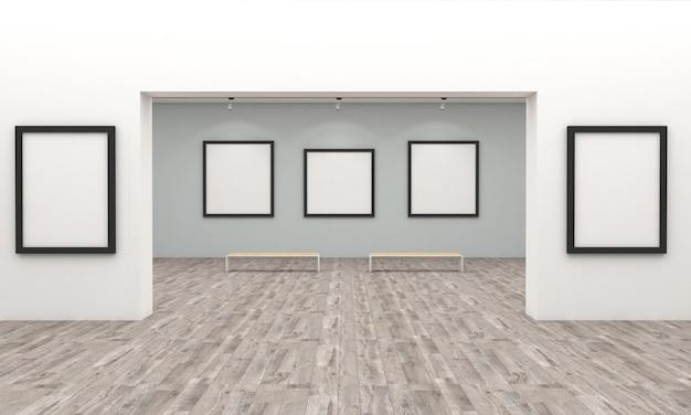 アートギャラリー展覧会の3 dレンダリング