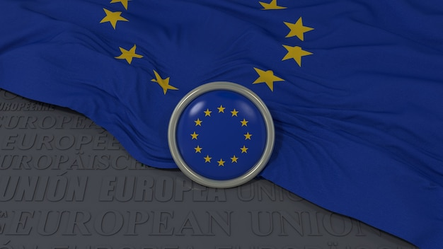 유럽 연합 국기와 파란색 배경 위에 광택있는 버튼의 3d 렌더링