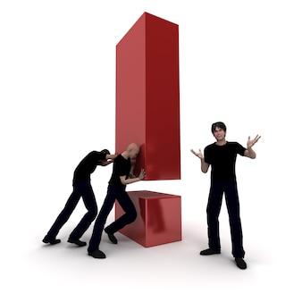 3d-рендеринг восклицательного знака и рабочей группы