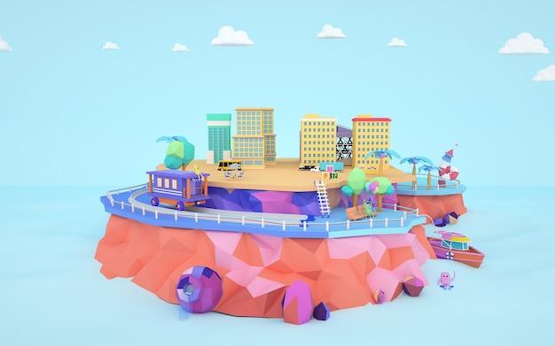 섬에 도시 아파트 건물의 그림의 3d 렌더링