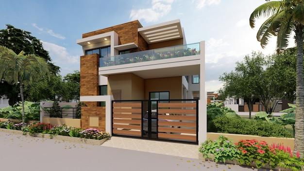 3d рендеринг индивидуального современного дома