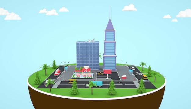 地上図の等尺性タワービルの3dレンダリング