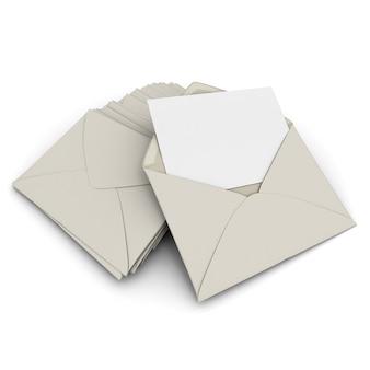 3d-рендеринг открытого конверта и бланка, карточки поверх стопки закрытых писем