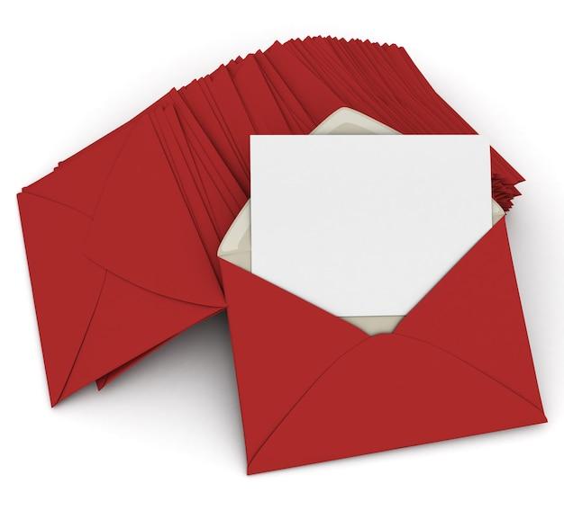 3d-рендеринг открытого конверта и бланка, карточки поверх стопки закрытых красных букв