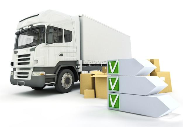 チェックリストを使用したトラック輸送テーマの3dレンダリング
