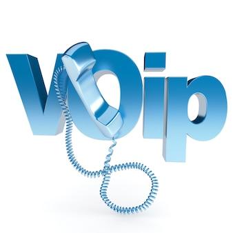 Voipという単語を使用したフックされていない受話器の3dレンダリング