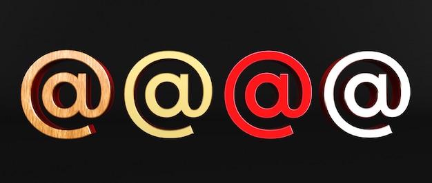 Перевод 3d на знака изолированного на черной предпосылке. arobase