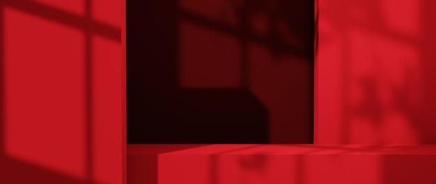 레드 톤 룸 및 창 그림자 배경에 제품을 표시하기 위한 bar의 3d 렌더링. 쇼 제품을 위해. 빈 장면 쇼케이스 모형.