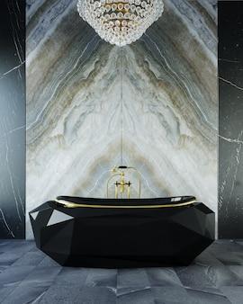 욕실의 3d 렌더링입니다. 비싼 욕실에 서있는 고급스러운 검은 욕조.