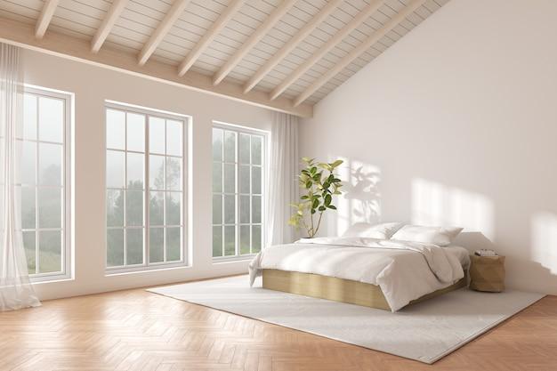 3d-рендеринг спальни с деревянным полом и солнечным светом отбрасывает тень на белую кровать. окна и природа фон.