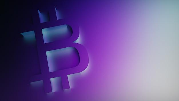 보라색 배경에 bitcoin 기호의 3d 렌더링