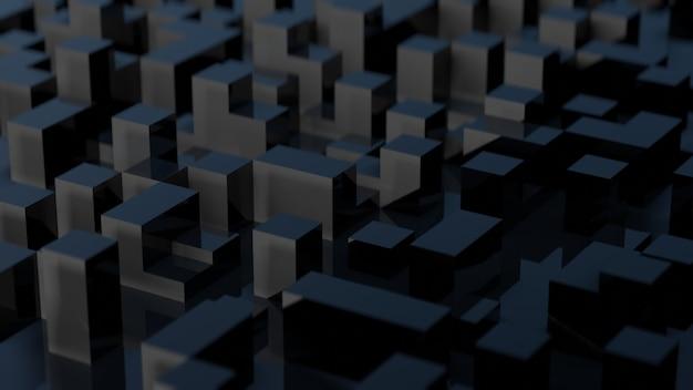キューブを使用した黒の抽象画の3dレンダリング