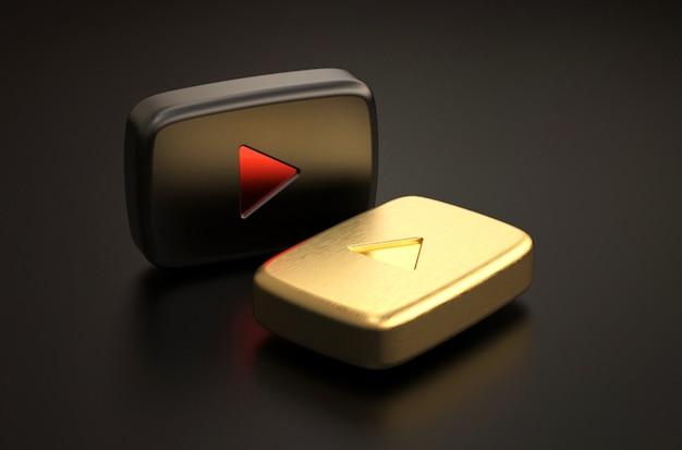 검정색과 황금색 youtube 로고의 3d 렌더링