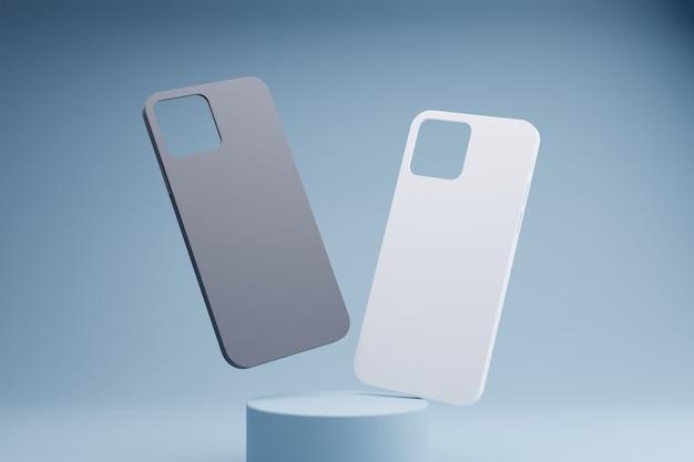 흑인과 백인 전화 케이스의 3d 렌더링