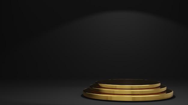 금색과 검정색 제품 스탠드 연단 검정색 배경의 3d 렌더링