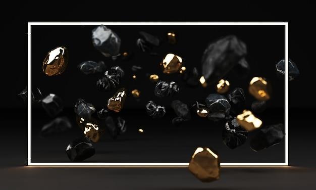 Ledライティングフレームとフリーフォームロックで黒に分離された黒い大理石の台座の3 dレンダリング