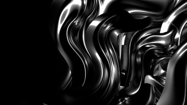 黒いプリーツと渦巻きの3 dレンダリング