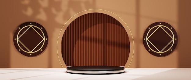 제품 및 창 배경의 그림자를 표시하기 위한 은색 줄무늬가 있는 검정 연단의 3d 렌더링. 쇼 제품에 대한 모형.