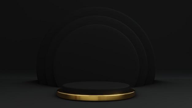 金と黒の製品スタンドを使用した黒の3dレンダリング