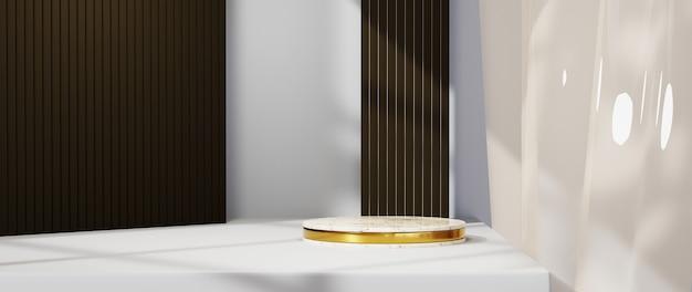 ファッションやクリーム色の化粧品の装飾を表示するための空白の背景の背景の3dレンダリング。高級品のモダンな表彰台の背景。