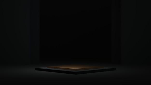3d-рендеринг пустого фона для показа украшений моды и кремовой косметики. современный продиум фон для роскошного продукта.