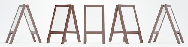 3d-рендеринг пустой стоячей доски вращается под разными углами на белом фоне шаблона
