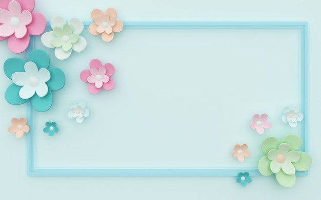 화려한 꽃 장식과 함께 파란색 추상적 인 배경의 3d 렌더링