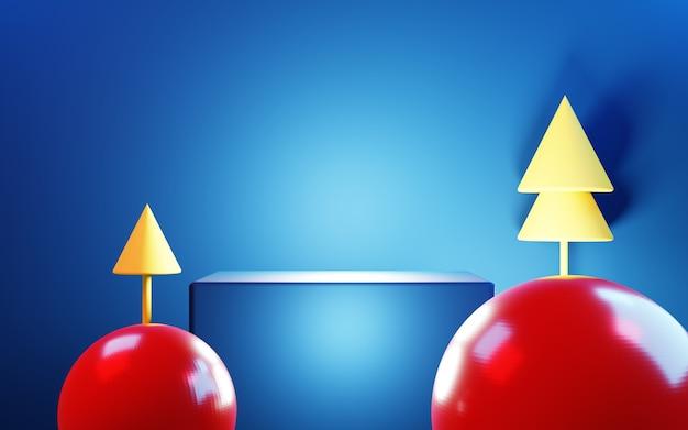 3d-рендеринг синего абстрактного фона с красным снежком и деревьями. дисплей рекламного продукта