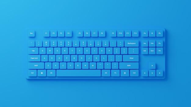 3d-рендеринг синей компьютерной клавиатуры