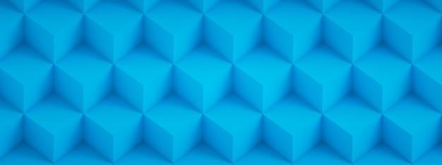 青い立方体、幾何学的な背景、パノラマ画像の3dレンダリング