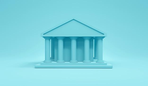흰색 배경에 파란색 정부 또는 은행 건물 아이콘의 3d 렌더링