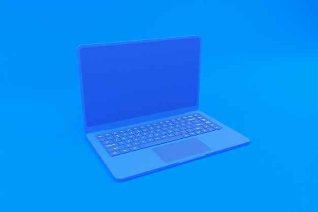 青いラップトップイラストの3dレンダリング