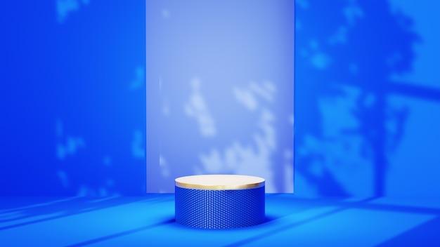 창 그림자 배경이 있는 파란색 방에 있는 파란색 메쉬 연단의 3d 렌더링. 쇼 제품에 대한 모형.
