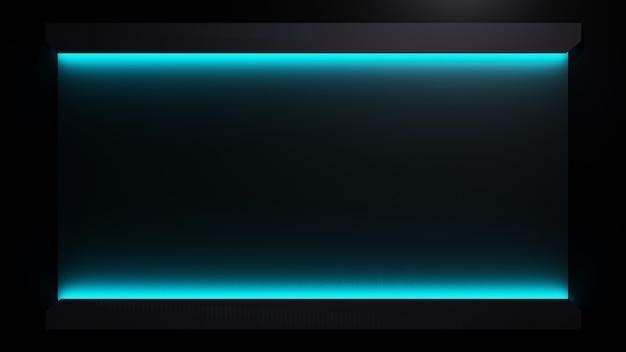 3d-рендеринг синих неоновых огней на темной поверхности