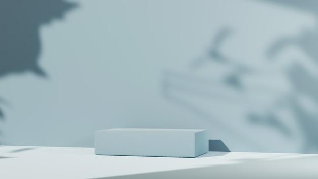 壁の背景に青い表彰台と木の影の3dレンダリング。ショー製品のモックアップ。