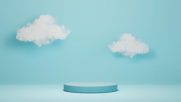 제품을 표시하고 구름 배경을 반영하기 위한 파란색 연단의 3d 렌더링. 쇼 제품에 대한 모형.