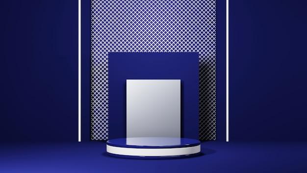 블루 톤 룸 배경에서 제품을 표시하기 위한 블루 연단의 3d 렌더링. 쇼 제품에 대한 모형.