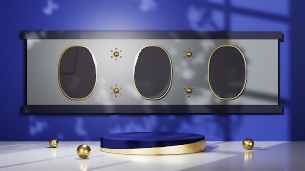 파란색 방 배경에 제품을 표시하기 위한 금색 줄무늬가 있는 파란색 연단의 3d 렌더링. 쇼 제품에 대한 모형.